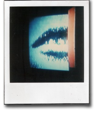 André Werner, TV-BLUE (triptych), SX70 polaroid, mounted on polaroid cartridge, 1988