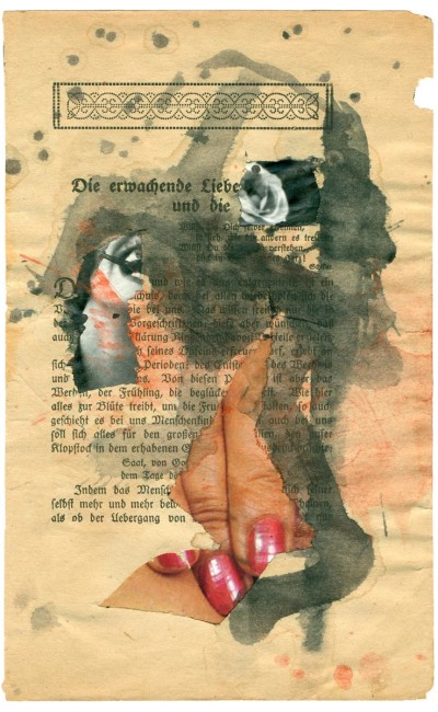 André Werner, untitled, collage, watercolor on page, Aug. 1990