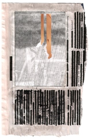 André Werner, untitled, collage, marker on newspaper, 1990, 16,9 x 26,1 cm,  6,6 x 10,3 inches
