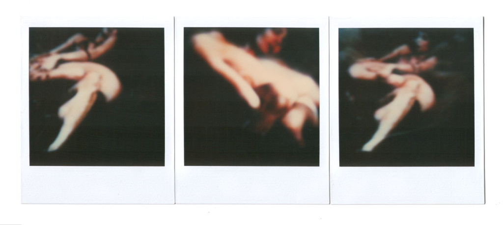 André Werner, untitled (two girls), polaroid SX 70 triptych, ca. 1991, 26,4 cm × 10,7 cm | 10,5″ x 4,2″ (image 7,9 cm × 7,9 cm | 3,1″ x 3,1″)