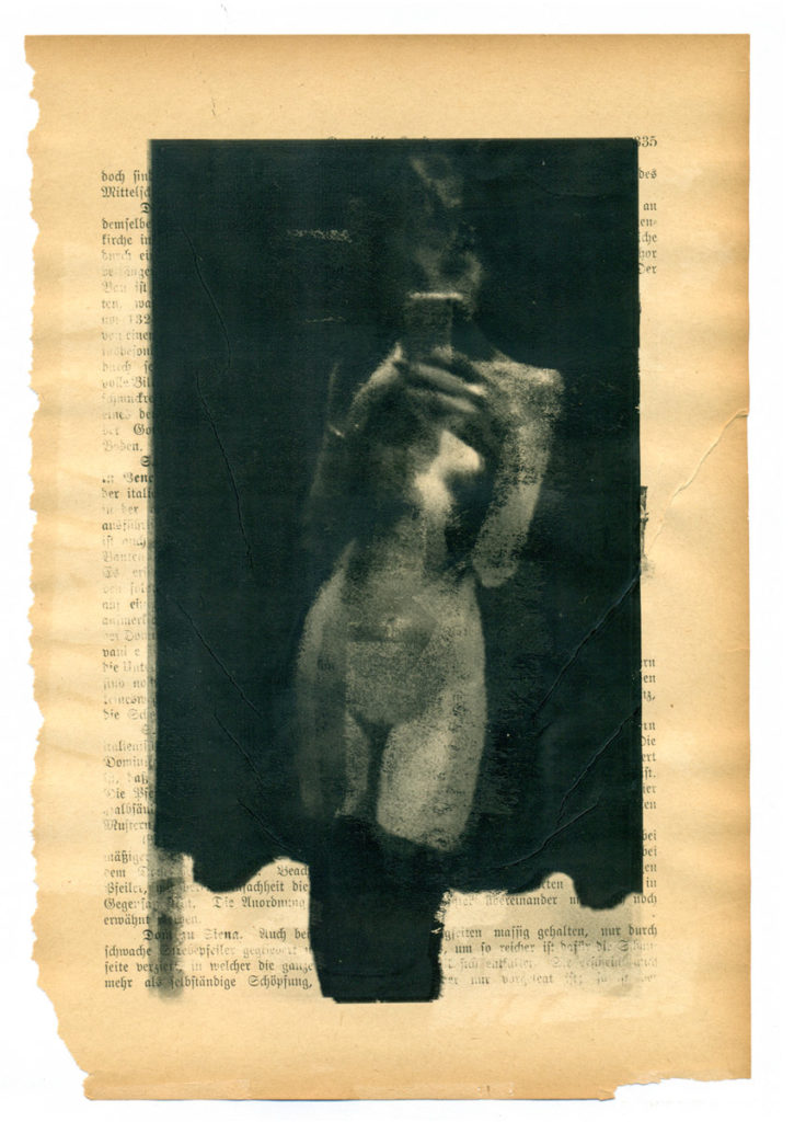 André Werner, A Girl As An Independent Creation (I), multiple laser prints on an early 20th century page, 25 x 17 cm, 10,2 x 6,7 inches, 2017