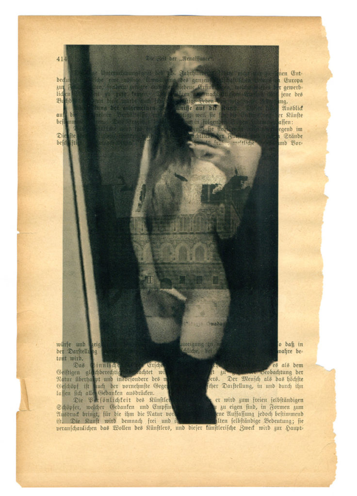André Werner, A Girl As An Independent Creation (IV), multiple laser prints on an early 20th century page, 25 x 17 cm, 10,2 x 6,7 inches, 2017