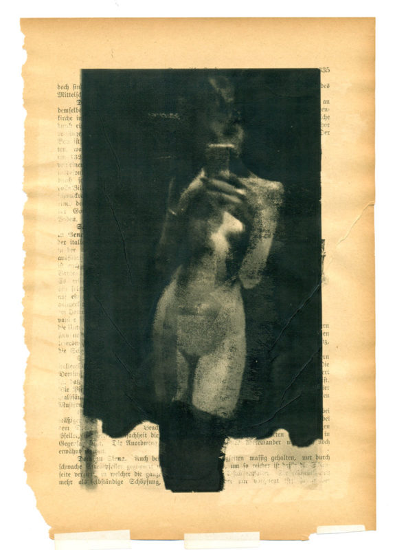 A Girl As An Independent Creation (I), multiple laser prints on an early 20th century page, 25 x 17 cm, 10,2 x 6,7 inches, 2017