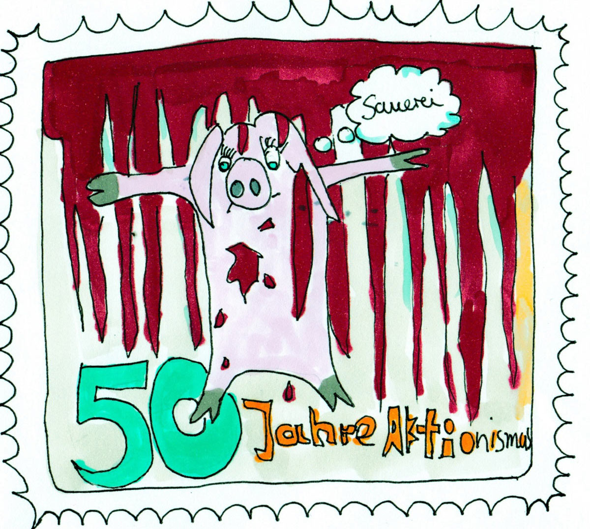Cosima Reif, 50 Jahre Aktionismus, 50 years of (Viennese) Actionism, stamp from the Austrian Pure Chance Postal Service, 2018