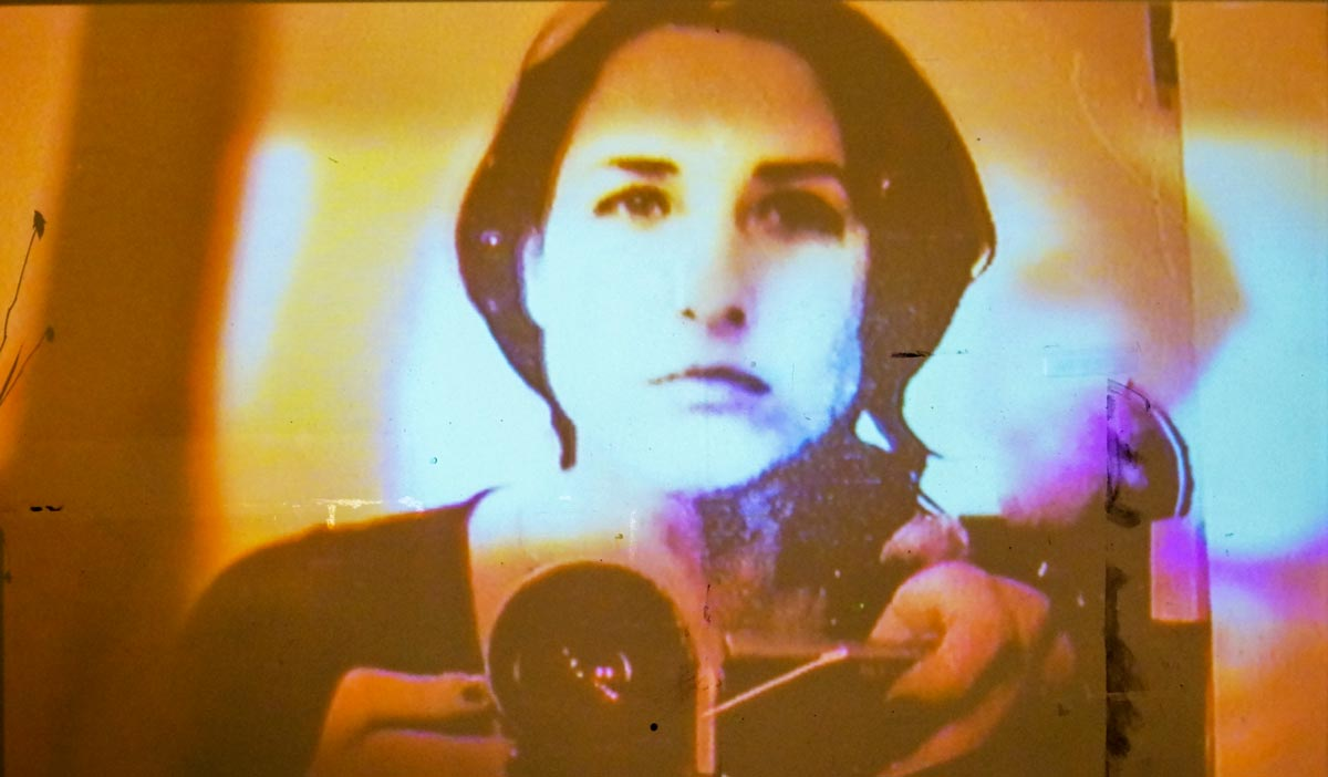 "Girl with a Video Camera (II), interactive video installation by André Werner. #4 of ""Was vom Kino übrig bleibt 
