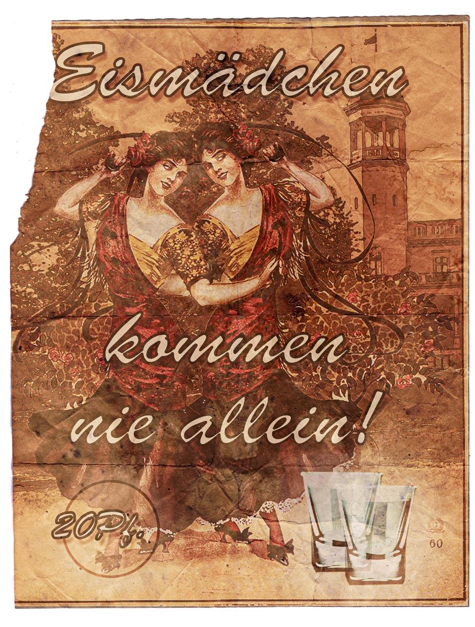 """""""Eismädchen"""" Werbung, ca. 1916. Schloss Biesdorf mit seinem charakteristischen Turm ist im Hintergrung gut zu erkennen."""