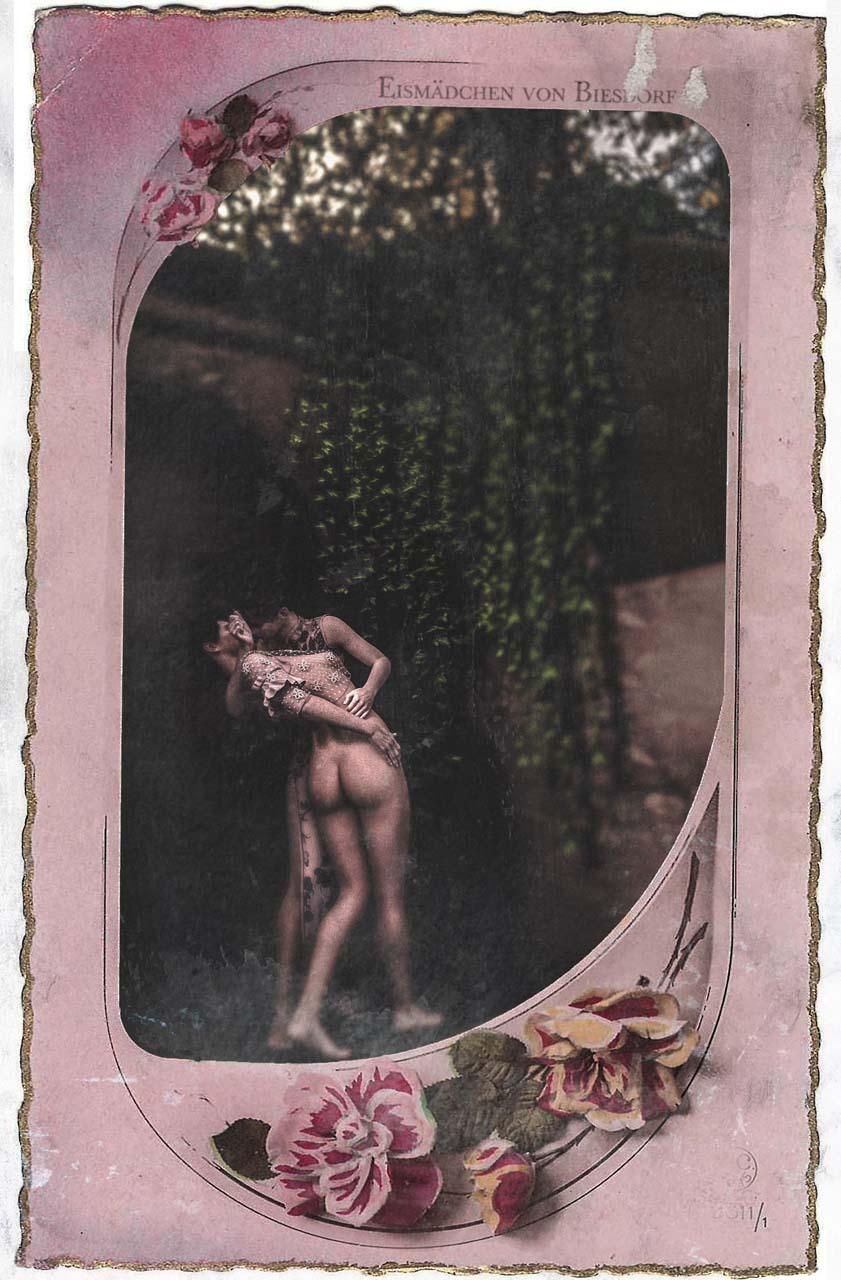 Eismädchen Postkarte. Galante Postkarte, ca. 1914. Künstlerische Darstellung eines Frauenpaares am Eiskeller Biesdorf. Quelle: UCLA, Dep. for historic gender studies.
