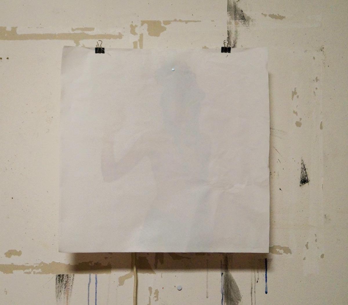 The waving girl. Prototype. 43 x 43 x 8 cm, Paper, layered Laserprints, Magnets, LED, HF motion sensor, fan